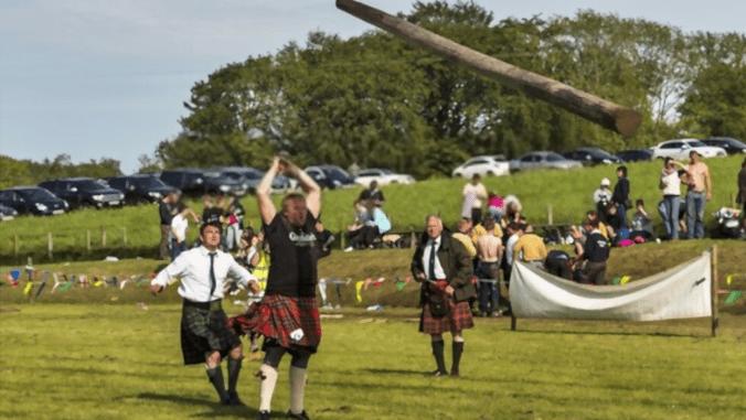 caber toss highland games in scotland
